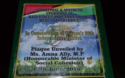 Main Street, Hopetown rehabilitated through Regional and self-help effort  -Social Cohesion Minister re-commissions thoroughfare