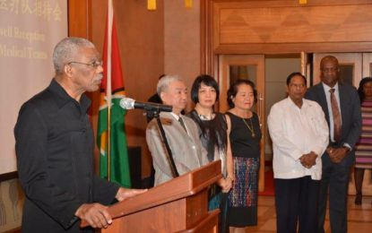 President welcomes 12th Chinese Medical Brigade to Guyana  – lauds warm Guyana/China relations