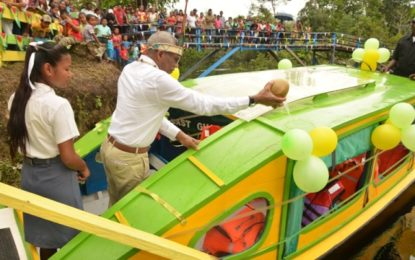 Moraikobai becomes latest beneficiary under President Granger's B's programme  -receives school boat; bicycles to follow