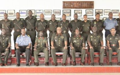 THE GUYANA DEFENCE FORCE TRAINS EIGHTEEN OFFICERS FOR SENIOR MILITARY LEADERSHIP