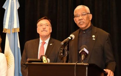"""""""Guyana will continue to work towards deepening and strengthening continental cooperation""""  -President Granger at Argentina's Independence celebrations"""