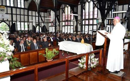 President Granger attends funeral of His Lordship, Randolph George, former Bishop of Guyana
