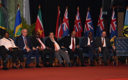 Red carpet welcome for Caricom Heads – Moment of silence for Manning