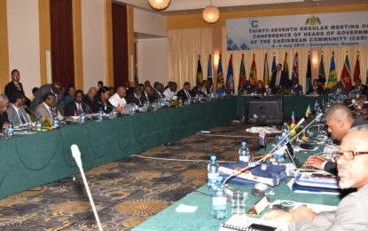 Plenary Meeting of the 37th Regular Meeting of the Conference of the Heads of Government of the Caribbean Community (CARICOM) held at the Pegasus Hotel