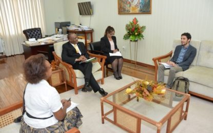 New UN Guyana Peace and Development Specialist pays courtesy call on Minister Harmon