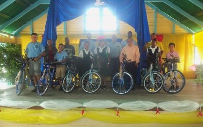 Cuyuni-Mazaruni top students rewarded with bicycles, book bags from Ministry of Social Cohesion