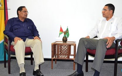 """Guyana is on the cusp of a boom period"" – Prime Minister Holness  – during courtesy call to Prime Minister Nagamootoo"