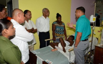 President visits St. Lucian Cub Scout at GPHC  -The eight-year old is likely to be released early next week