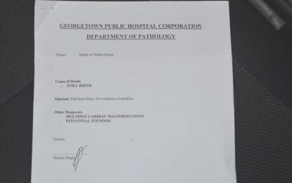 Lethem stillbirth deaths…PM results released