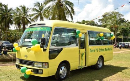 Tapacuma, Mainstay/Whyaka students welcome school bus  -donated to President Granger's 'Five Bs' programme