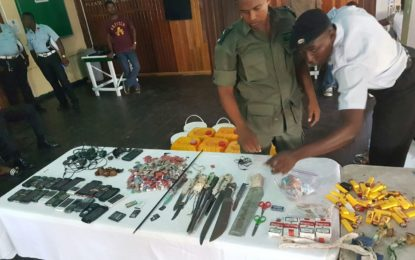 Joint Services haul in two-month accumulation of weapons and contraband– searches conducted at Georgetown and New Amsterdam prisons
