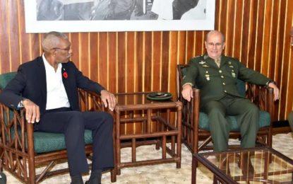 Brazil's Military Commander pays courtesy call on President Granger