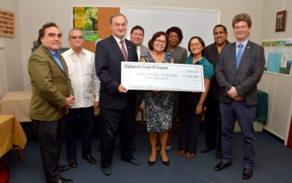 Diplomatic Corps donates US$1,000 each to 'Five Bs' and Shoes that Grow programmes