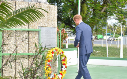 Prince Harry lands in Guyana, visits President, lays wreaths