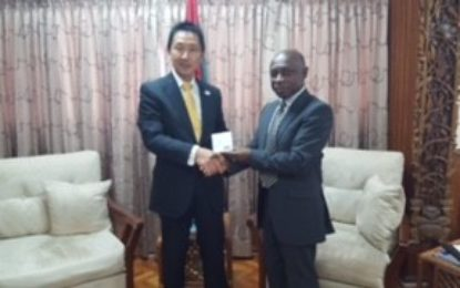 Meeting between the Hon. Carl B. Greenidge Vice President and Minister of Foreign Affairs and His Excellency Mitsuhiko Okada Ambassador  Extraordinary and Plenipotentiary of Japan to Guyana