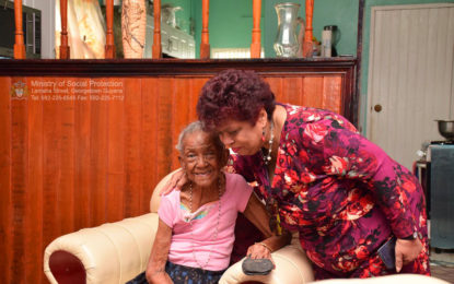 Minister of Social Protection Hon. Amna Ally, MP visit Friendship, EBD Centenarian