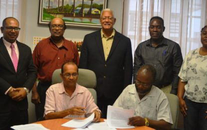 Partnership Agreement signed by CARDI/Hope Coconut Estate -for the production of high-quality Coconut Seedlings