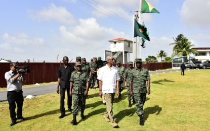 President visits GDF's Coastal Battalion Base in Anna Regina