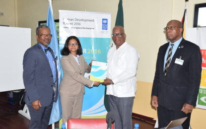 2016 HDR clarion reminder that Guyana must work harder- Minister Jordan at launch of UNDP HDR