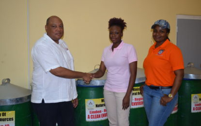 "Ministry of Natural Resources donates 10 bins to the Linden Town Council as part of ""A Clean Environment Project"""