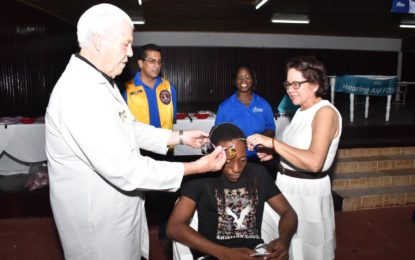 First Lady joins Starkey Hearing Foundation to outfit over 560 persons with hearing aids  -at Phase II of Guyana hearing mission