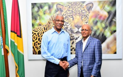 71 years old swimmer pays courtesy call on President Granger  -aims to inspire elderly folks to exercise