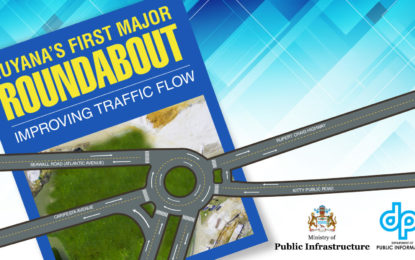 Guyana's first major roundabout 50% complete – Some road closures necessary to complete the project