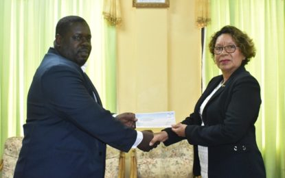 Guyana Gold Fields makes tangible donation towards Heritage Celebrations.