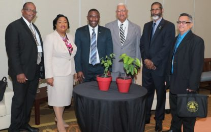 Agri. Minister hands over trees to Bahamas Minister – as Guyana works towards holistically combatting climate change