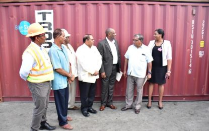 Six containers ready for shipment to hurricane ravaged Dominica and Antigua