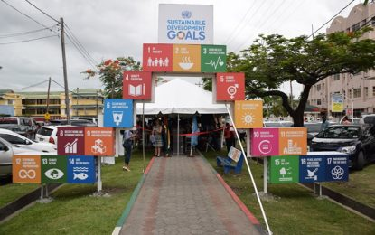 SDG arch erected as Guyana observes United Nations Day