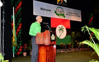 Address of His Excellency Brigadier David Granger Leader of the People's National Congress Reform at the 60th Anniversary Special Congress for the Celebration of the Founding of the  People's National Congress