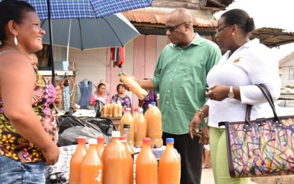 Minister Harmon conducts walkabout in Bartica