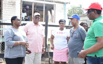 Ministers Jordan and Broomes visit fire victims
