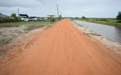 Mahaicony community gets first-time asphaltic concrete road