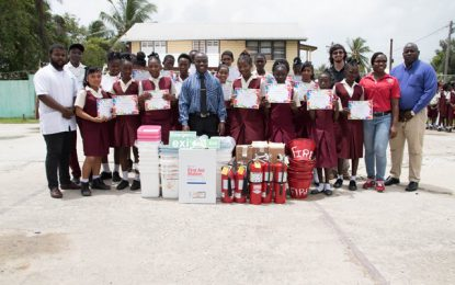 CDC equips Berbice high school to handle fire disasters