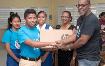 Office of Climate Change donates laptops to Bartica's STEM Clubs