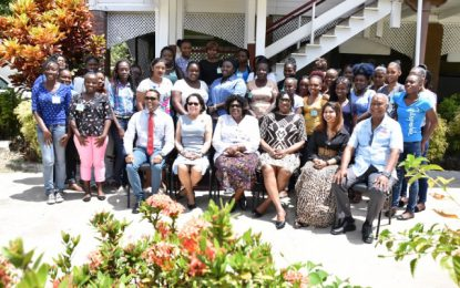 38 East Coast Demerara women being trained to get into business  -through the First Lady's Self Reliance and Success in Business Workshop