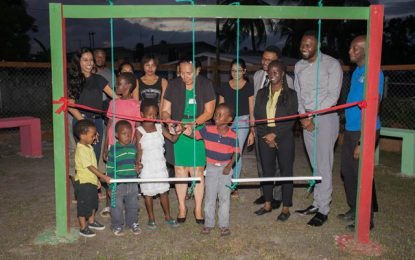UG students restore playfield for Ruimveldt kids  -NSC to provide lights