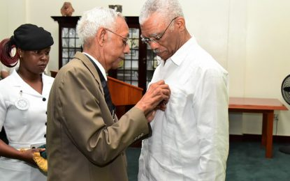 President Granger commits support to St. John's Association of Guyana  -as he receives Association's 'emblem'