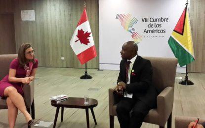 Min. Greenidge, Canadian, Ecuadorian counterparts meet on sidelines of Summit of the Americas