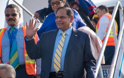 Prime Minister Nagamootoo returns home to warm welcome