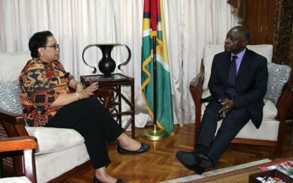 Guyanese and Indonesian Foreign Ministers meet – keen to strengthen relations