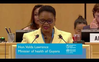 Minister Lawrence addresses world health assembly on universal health