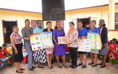 The Joseph/Nagamootoo Charity donates school items to Arapaima Nursery