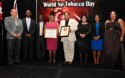 World 'No Tobacco' Day award bestowed on Health Ministry