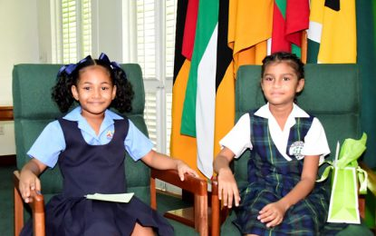 President Independence Anniversary star Eliana Ganpat on State House tour  -along with 7 year old girl who had written to him