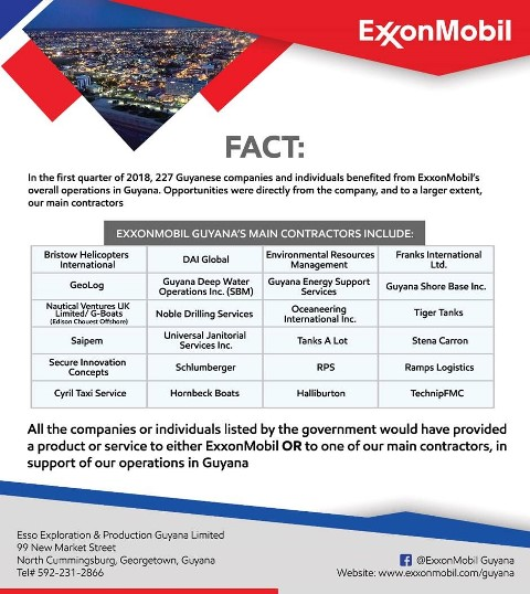Exxon clarifies local content list