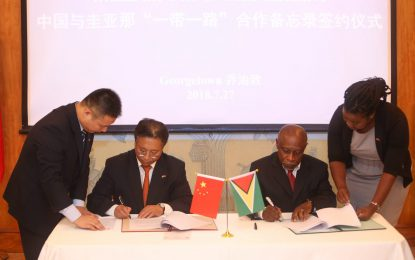 """Guyana/China sign historic MOU under """"Belt and Road Initiative"""""""