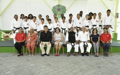 First Lady, Mrs. Sandra Granger receives courtesy call from Guyana Karate College